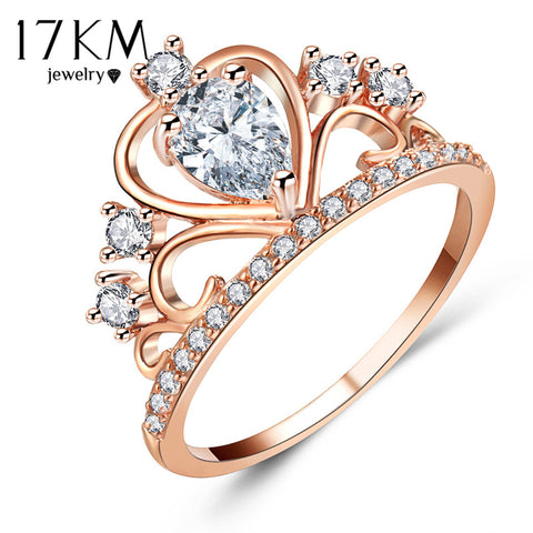 17Km Lover Oval Crystal Hollow Crown Rings Women Rose Gold Color Cubic-iuly.com