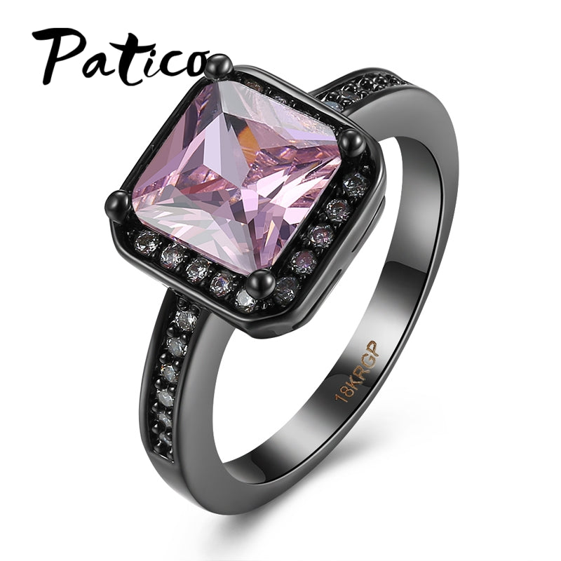 Black Gold Color Big Crystal Stone Female Wedding Ring And Girls Promise-iuly.com