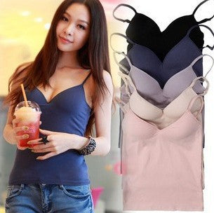 Built In Bra Tops 6 Colors Padded Cozy Adjustable Strap Base Camisole-iuly.com