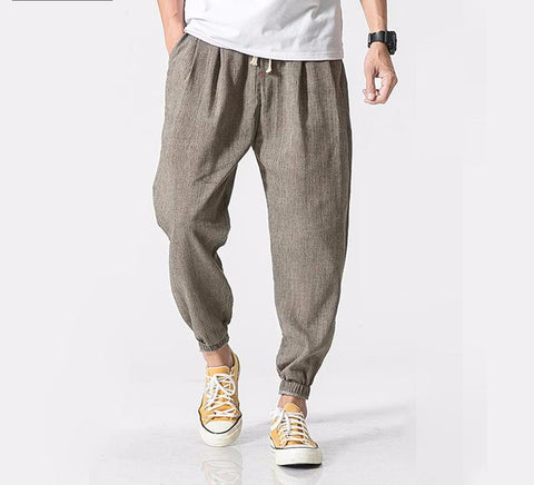 Privathinker Cotton Linen Casual Harem Pants Men Jogger Pants Men Fitness-iuly.com