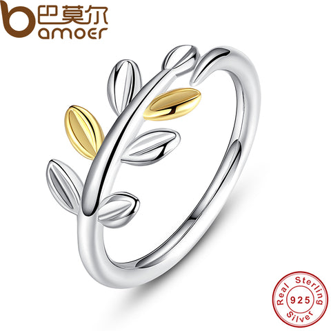 925 Sterling Silver Laurel Leaves Ring With Two Luxurious Leaves Original-iuly.com