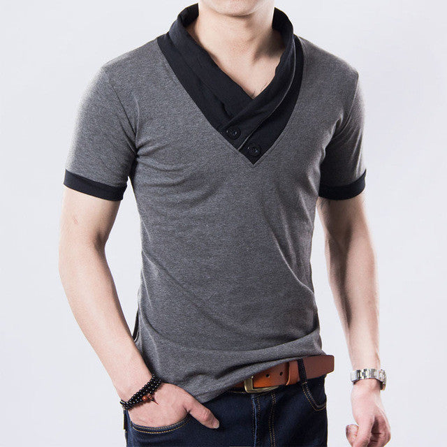 Design Irregular Collar Button Men'S T Shirt Slim Fit Big Size Casual Top-iuly.com