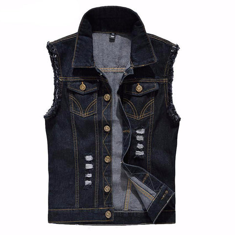 Vintage Design Men'S Denim Vest Male Black Color Slim Fit Sleeveless Jackets-iuly.com