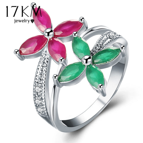 17Km Crystal Flower Rings Women Engagement Jewelry Sliver Color Finger-iuly.com