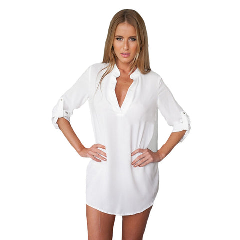 Blusas Y Mujer Ropa White V-Neck Blouse Shirts Women Blouses Vetement-iuly.com