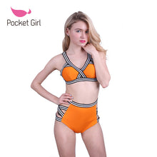 Load image into Gallery viewer, Women Bandage Bikini Set Neoprene Swimsuit Bandeau Cut Out Swimwear Sp-iuly.com