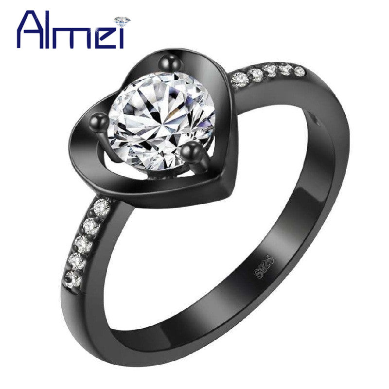 Cubic Zirconia Women'S Wedding Heart Black Rings Female Jewelery Engagement-iuly.com