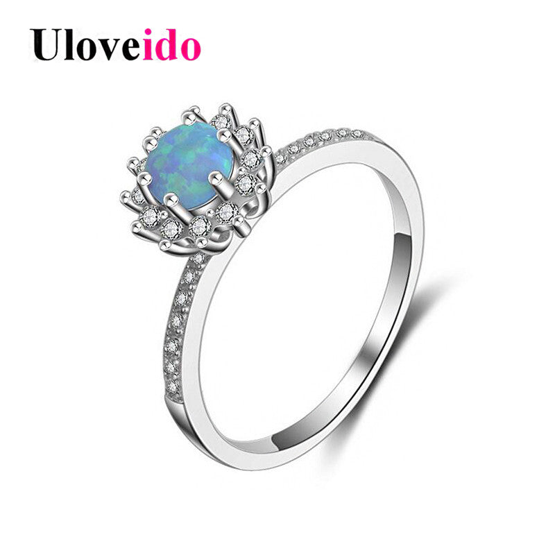 925 Sterling Silver Female Ring With Stone Wedding Rings Women Blue Fire-iuly.com