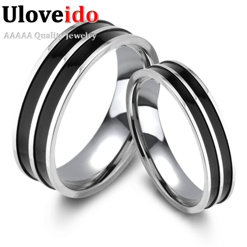 Couple Wedding Rings Men And Women Black Enamel Mens Engagement Ring Female-iuly.com