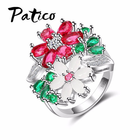 925 Sterling Silver Colorful Flower Crystal Ring Woman'S Ring Female Wedding-iuly.com