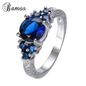 Delicate Blue Stone Ring Retro White Gold Filled Zircon Rings Couples Female-iuly.com