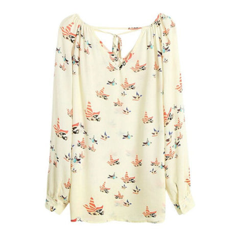 Cozy Chiffon Women Top Blouse Short Long Sleeve Dove Print Casual Loos-iuly.com