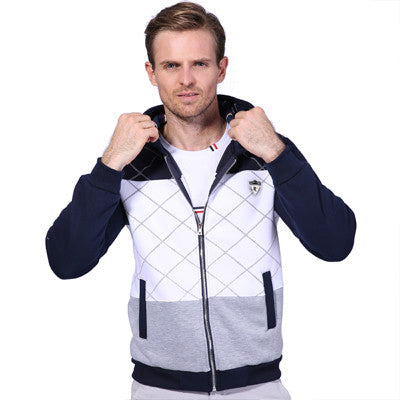 Atmosphere Stitching Thickening Men Hoodies Badge Decoration Hoodies Casual-iuly.com