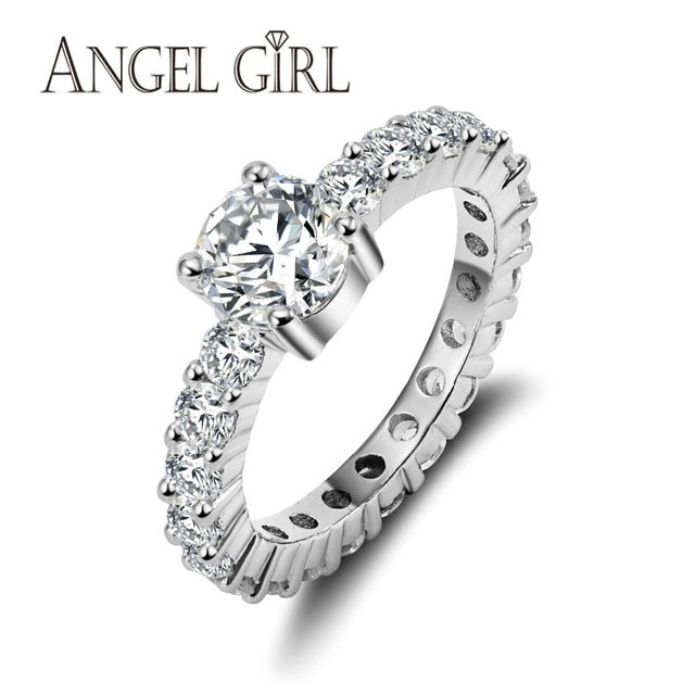 Angel Girl Zirconia Wedding Engagement Rings Women White Gold Color Jewelry-iuly.com