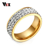 Crystal Rings Women Stainless Steel Promise Rings Shiny Round Cz Inlaid-iuly.com