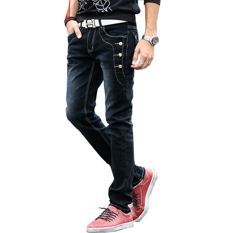 Men Jeans Buttons Jeans Black Blue Grey Skinny Slim Fit Stretch Pants-iuly.com