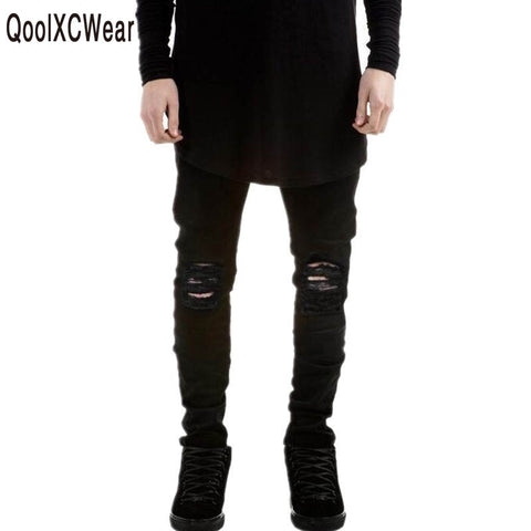 Jeans Men Black Ripped Jeans Pants Distressed Denim Joggers Man Destro-iuly.com