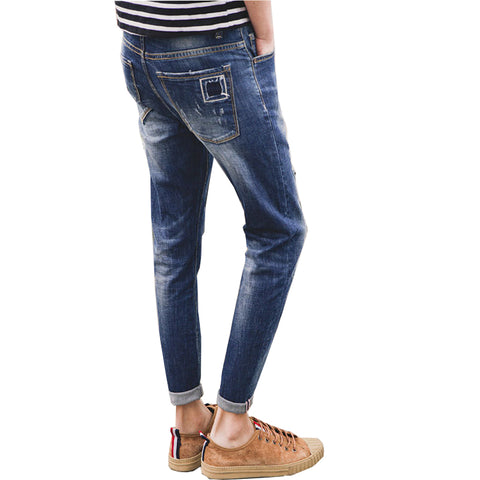 Spring Summer Mens Jeans Thin Ripped Jeans Patched Ankle-Length Pants-iuly.com