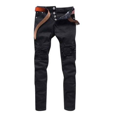 Mens Skinny Jeans Men Destroyed Ripped Straight-Leg Pants Denim Biker-iuly.com