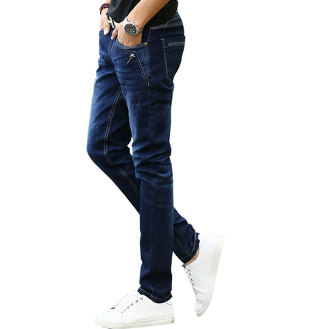 Mens Stretch Jeans Famous Desinger Buttons Pockets Slim Fit Pencil Pan-iuly.com