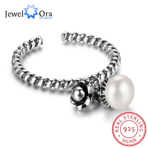 Jewelora 925 Sterling Silver Rings Women Pearl&Flower Shape Adjustable-iuly.com