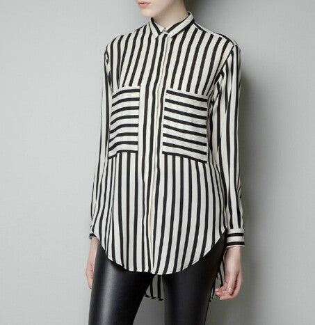 Formal Blouses Long Sleeve Button Down Womens Shirt Vertical Striped C-iuly.com