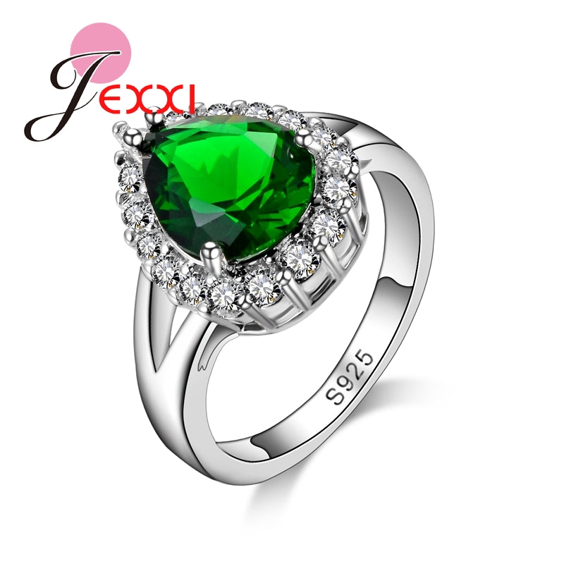 Accessories Elegant Women Green Crystal Rings 925 Sterling Silver Female-iuly.com