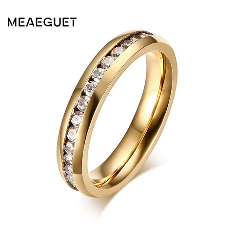 Meaeguet Simple One Row Cz Rings Female 316L Stainless Steel Rings Women-iuly.com
