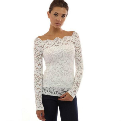 Blusas Plus Size Autumn Women Blouses Off Shoulder Lace Crochet Shirts-iuly.com