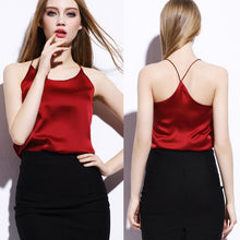 Load image into Gallery viewer, Design Women Summer Bustier Top Silk Backless Halter Tops Spaghetti St-iuly.com