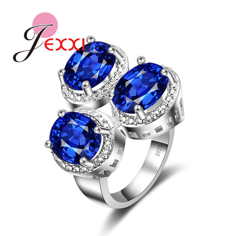 Austrian Clear Blue Crystal Ring Women Finger Jewelry Stainless 925 Silver-iuly.com