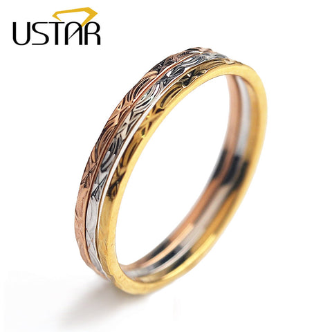 3 Pcs/Set Carving Wedding Rings Women Jewelry Rings Female Colors Gold-iuly.com