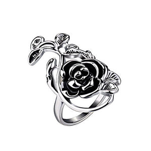 Antique Silver Color Retro Flower Female Ring Women Vintage Jewelry-iuly.com