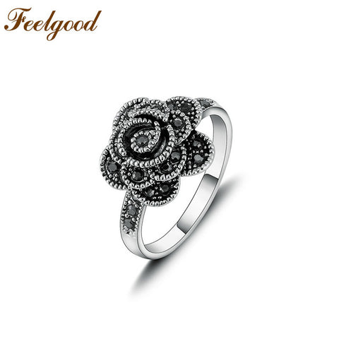 Antique Jewelry Female Ring Vintage Black Crystal Flower Rings Women Lady-iuly.com