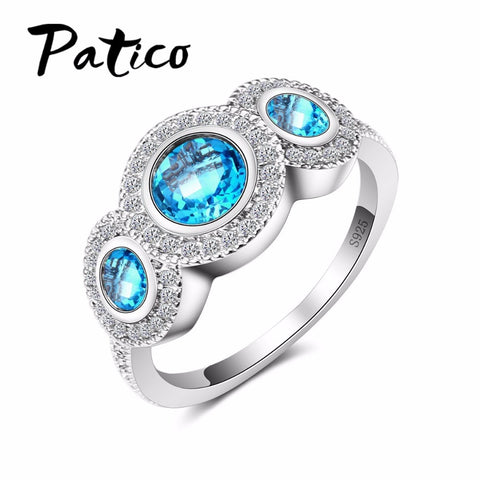 925 Sterling Silve With Blue Crystal Female Wedding Ring Finger Jewelry-iuly.com