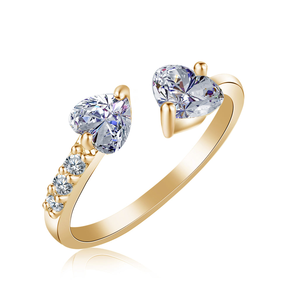 Double Heart Full Jewelry Opening Ring Female Models Size Zirconia Rin-iuly.com