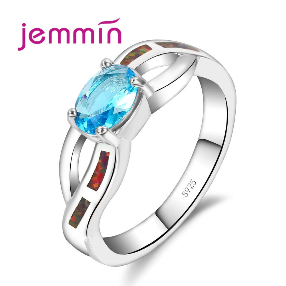 Cute Oval Style Blue Fire Opal Rings Female Male 925 Sterling Silver Ring-iuly.com