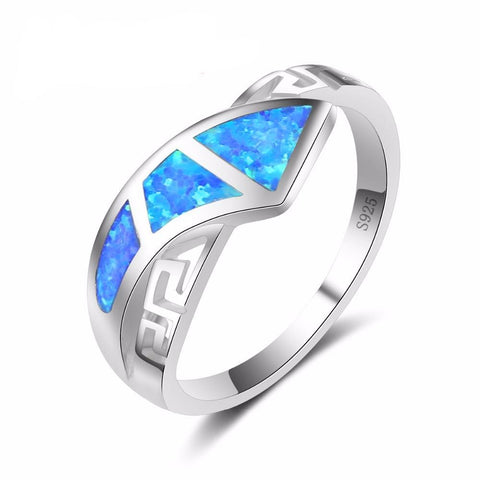 Antique Cross Rings Sky Blue Fire Opal Stone Jewelry Women Engagement Band-iuly.com