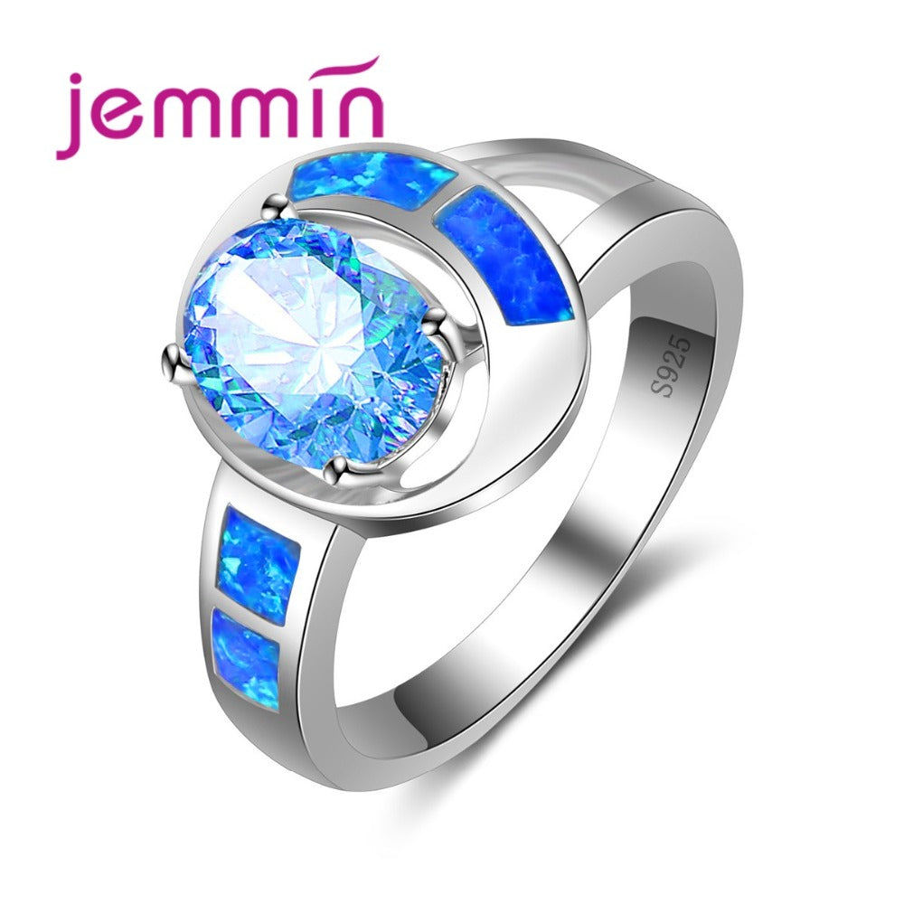Blue Fire Opal Pave Cz Crystal Women Finger Rings Party Wedding Jewelry-iuly.com