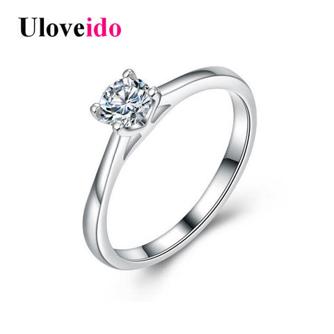 925 Sterling Silver Cubic Zirconia Wedding Rings Women White Crystal Engagement-iuly.com