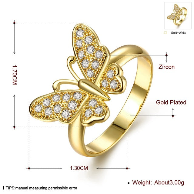 Cz Engagement Ring Women Butterfly Crystal Point Drill Wedding Rings Prong-iuly.com