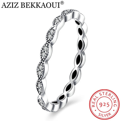 925 Sterling Silver Stackable Rings Women Clear Cz Female Wedding Rings-iuly.com