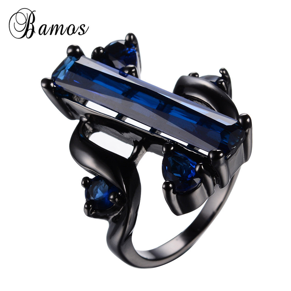 Blue Jewelry Cz Ring Black Gold Filled Wedding Party Engagement Female-iuly.com