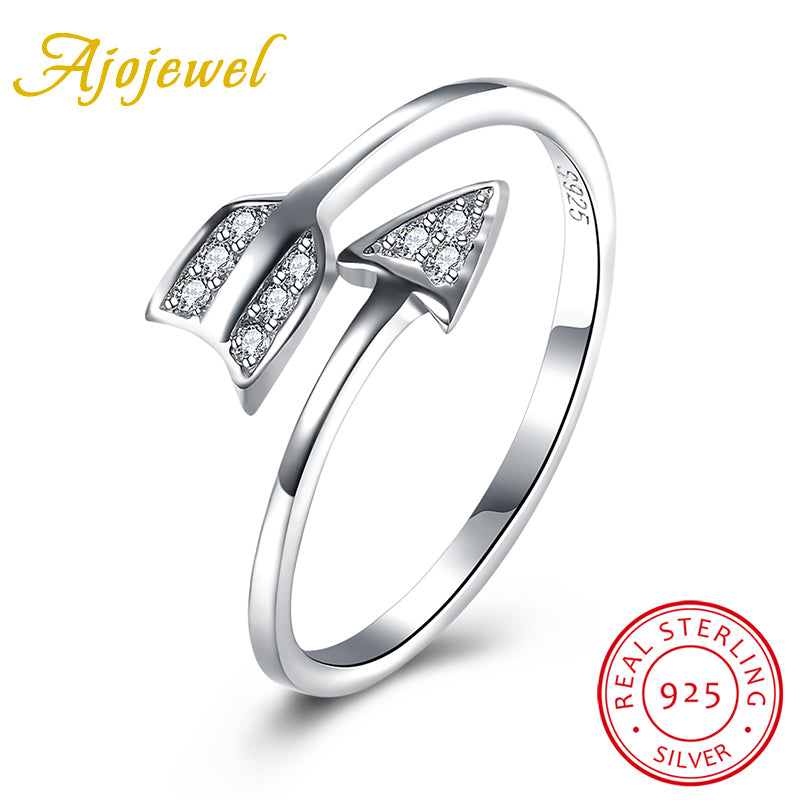 925 Sterling Silver Cz Arrow Finger Rings Female Wedding Jewelry-iuly.com