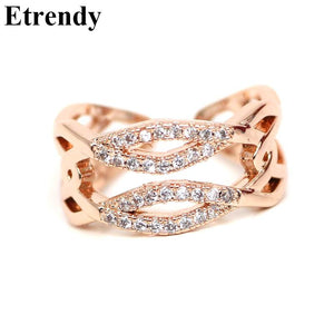 Adjustable Multilayer Zircon Open Ring Women Rose Gold-Color Rings Jewelry-iuly.com