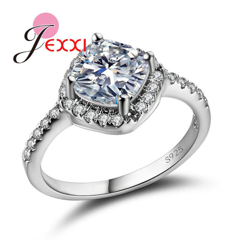 925 Sterling Silver Eternity Ring Shiny Cubic Zircon Stone Jewelry Female-iuly.com