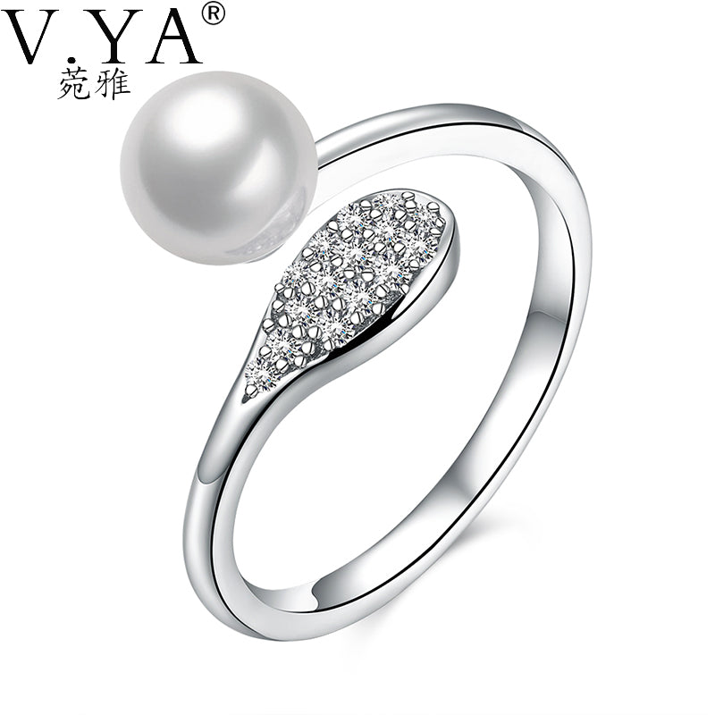 925 Sterling Silver Simulated Pearl Rings Women Female Wedding Snake Ring-iuly.com