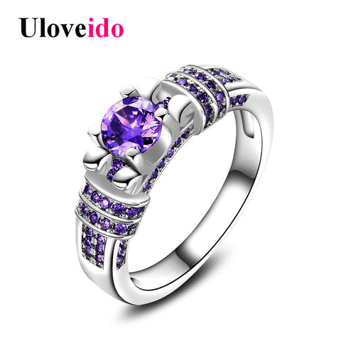 Promise Rings Women Purple Stone Vintage Rhinestone Female Rings Sieraden-iuly.com