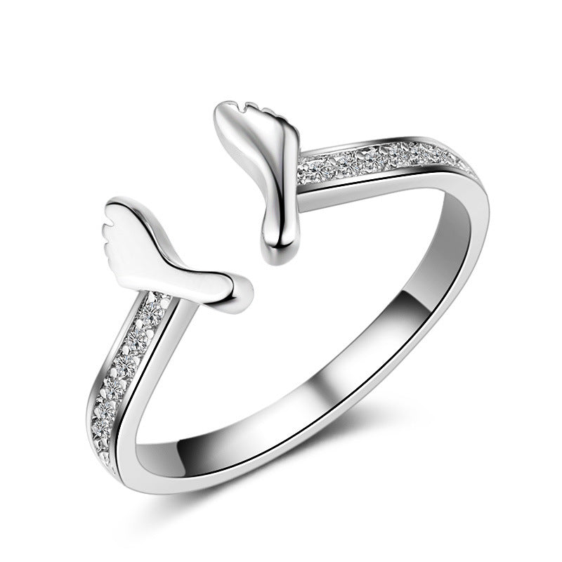 Baby Feet Shiny Crystal Female 925 Sterling Silver Ladies`Finger Rings-iuly.com