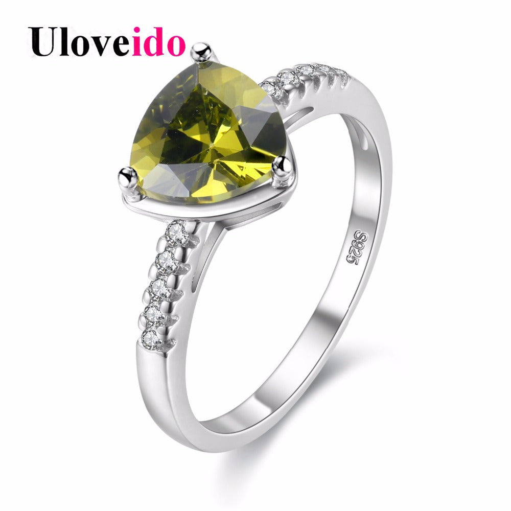 Costume Jewelry Rings Women Cubic Zirconia Triangle Green Ring With Stone-iuly.com